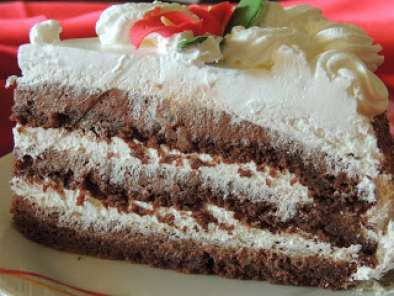 Chocolate cake with baked chocolate crusts